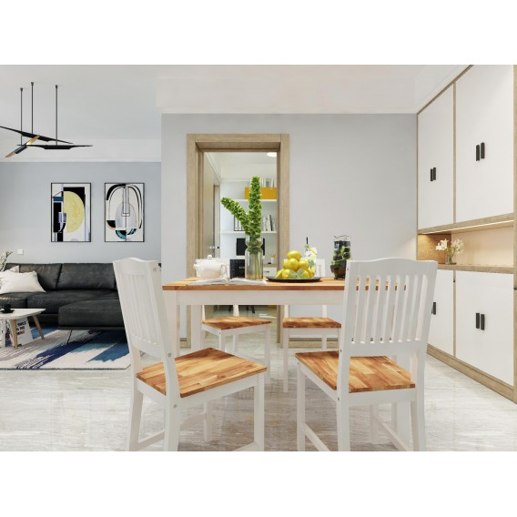 Interbuild Real Wood Swoppmokk 5 Piece Dining Table Set With Butcher Block Wood Top 1 Table 4 Chairs White